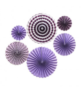 Kit deco de 6 Rosaces en papier Violet