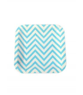 Assiette carré motif chevrons festive Bleu 12 pcs