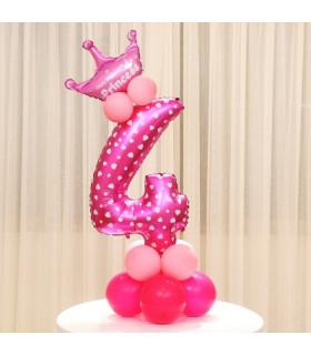 Kit Ballon Anniversaire Chiffre 4 fille Rose