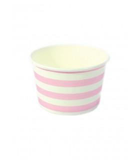 Petits pots motif rayures candybar Rose 6 pcs