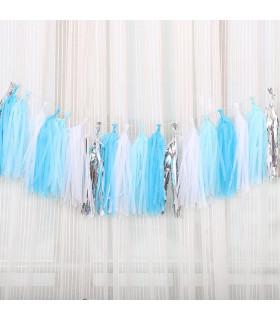 Guirlande de 20 tassels 4 couleurs Blanc Bleu ciel Bleu azur Argenté 4m20