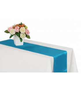 Chemin de table satin Bleu Azur 2m75
