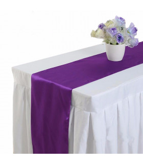 Chemin de table satin Violet 2m75