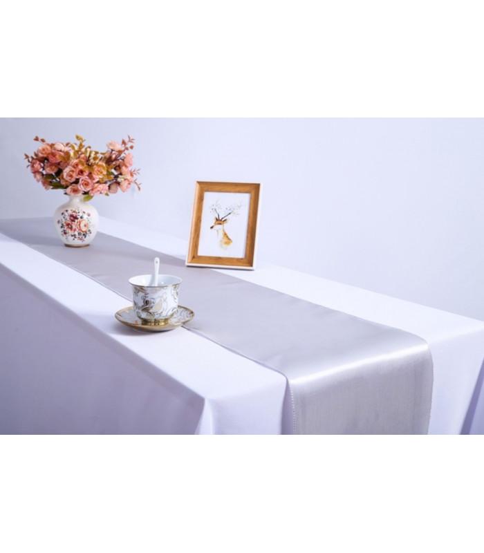 Chemin de table satin gris argent 2m75 - Chemin de table gris perle ...