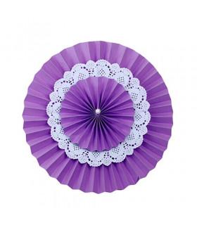 Double Rosace Violet en Papier avec Napperon en dentelle