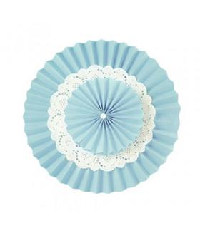 Double Rosace Bleu Ciel en Papier avec Napperon en dentelle