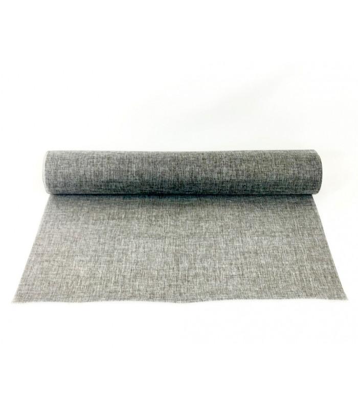 Chemin de table effet toile de jute 48cmx5m gris - Chemin de table gris perle ...
