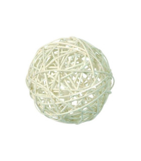 Boule en rotin deco table Blanc lot 5 pcs