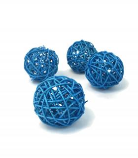 Boule en rotin deco table Bleu Azur lot de 5 pcs