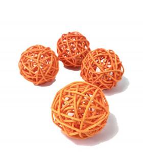 Boule en rotin deco table Orange 5 pcs