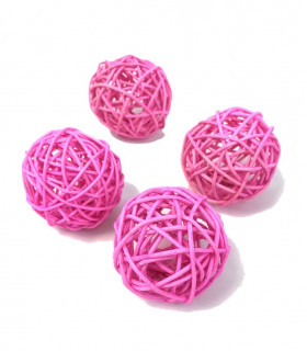 Boule en rotin deco table Rose 5 pcs