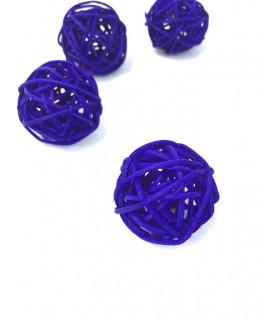 Boule en rotin deco table Violet 5 pcs