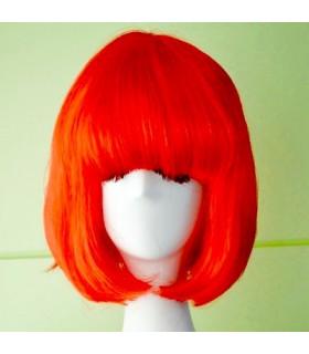 Perruque de deguisement femme carre Rouge Fluo