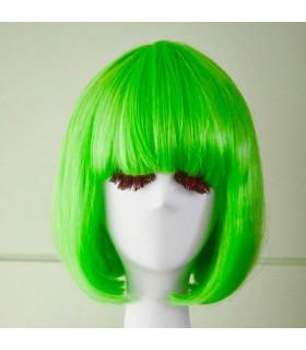 Perruque de deguisement femme carre Vert Fluo