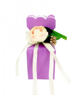 Contenants Dragées Cube Élégant Parme Floral 10pcs