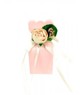 Contenants Dragées Cube Élégant Rose Floral 10pcs