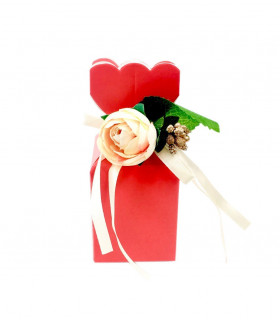Contenants Dragées Cube Élégant Rouge Floral 10pcs