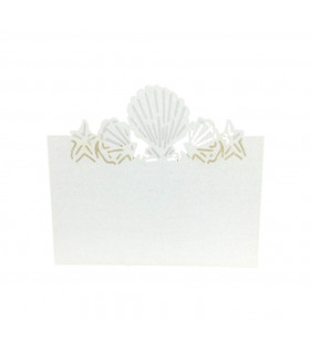 Marque Place theme mer coquillage Ivoire 20pcs