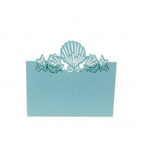 Marque Place theme mer coquillage Bleu Ciel 20pcs