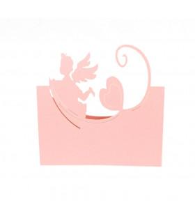 Marque place Bapteme Anniversaire Ange Rose 20pcs