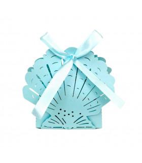 Contenant dragées theme mer grand coquillage Bleu Ciel 10pcs