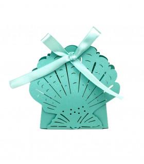 Contenant dragées theme mer grand coquillage Bleu Turquoise 10pcs
