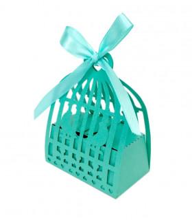 Contenant dragée élégant Cage oiseau Bleu Turquoise 10pcs