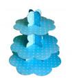 Présentoir gateau motif pois blanc candybar Bleu