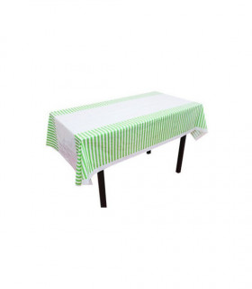 Nappe table motif rayures protection Vert