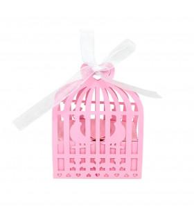 Contenant dragée élégant Cage oiseau Rose bonbon 10pcs