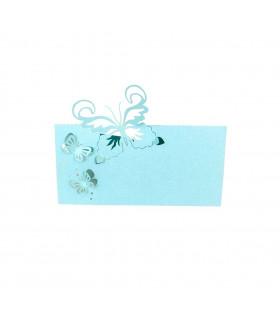 Marque Place table modèle papillon relief Bleu Ciel 20 pcs