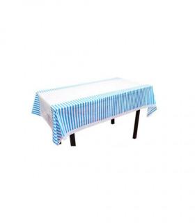Nappe table motif rayures protection Bleu