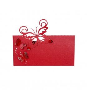Marque Place table modèle papillon relief Rouge 20 pcs