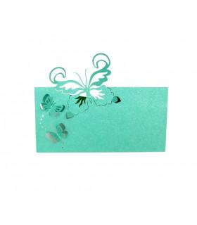 Marque Place table modèle papillon relief Bleu Turquoise 20 pcs