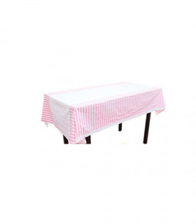 Nappe table motif rayures protection Rose