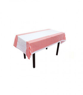 Nappe table motif rayures protection Rouge