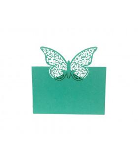 Marque place table de fête Grand Papillon 20pcs Turquoise
