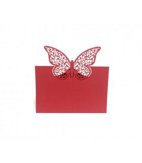 Marque place table de fête Grand Papillon 20pcs Rouge
