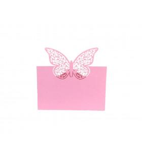 Marque place table de fête Grand Papillon 20pcs Rose Bonbon