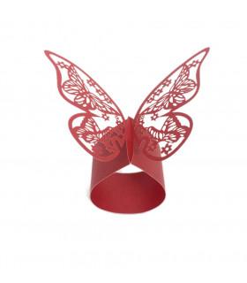 Rond de serviette mariage baptême décoration table Papillon Rouge 12 pcs