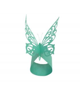 Rond de serviette mariage baptême Papillon chic Turquoise 12 pcs