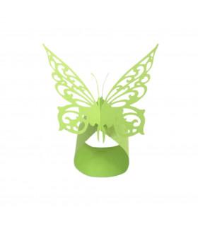 Rond de serviette mariage baptême Papillon chic Vert Pomme 12 pcs