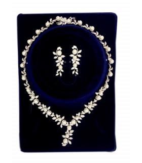 Parure Feuillage Royale perles et cristaux blanc