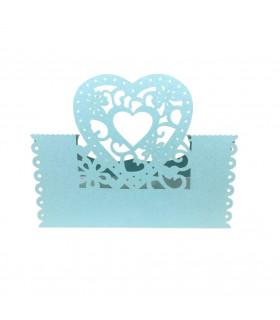 Marque Place table de fête modèle coeur Bleu ciel 20pcs