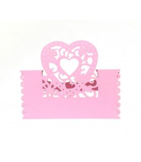 Marque Place table de fête modèle coeur Rose bonbon 20pcs