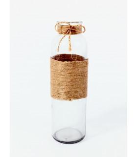 Bouteille vase Rond Transparent, Raphia