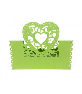 Marque Place table de fête modèle coeur Vert pomme 20pcs