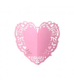 Rond de serviette mariage,baptême Coeur Rose bonbon 12pcs
