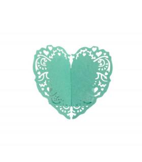 Rond de serviette mariage,baptême Coeur Turquoise 12pcs