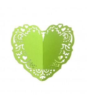 Rond de serviette mariage,baptême Coeur Vert pomme 12pcs